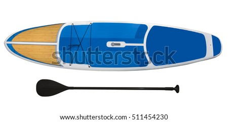 Paddle board,SUP, Surfboard and paddle isolated on white