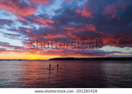 Paddle boarding in the sunset