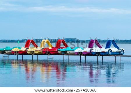 Paddle boats in tke lake Balaton(Hungary) - stock photo