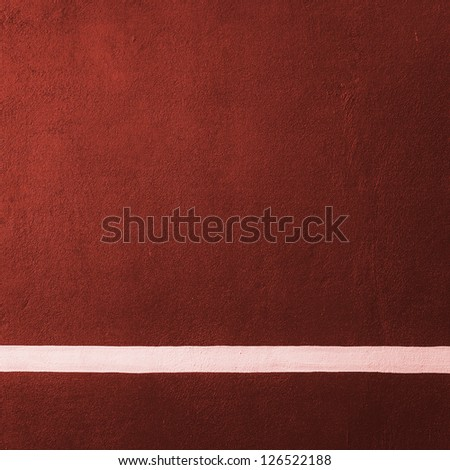 Paddle red badminton court texture with white line can used as soccer background - stock photo