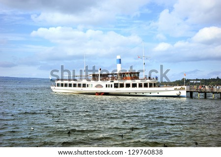 paddle steamer lake Ammersee Bavaria, Germany - stock photo