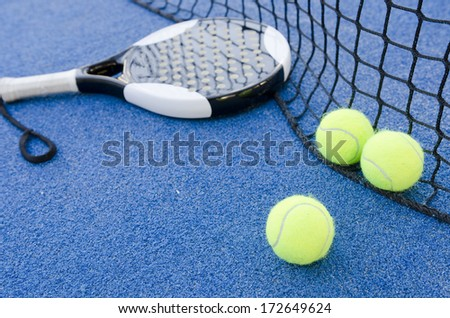 paddle tennis objects on artificial turf ready for tournament - stock photo