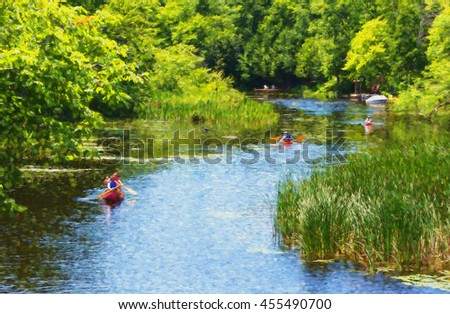 Paddling down a creek - painterly