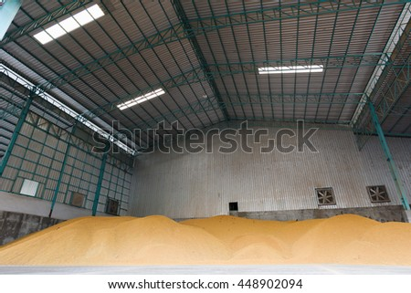 Paddy rice in warehouse ready to milling process