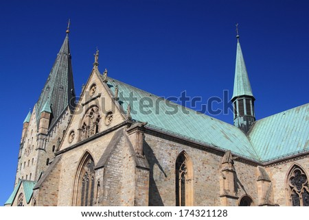 paderborn cathedral under blue sky - stock photo