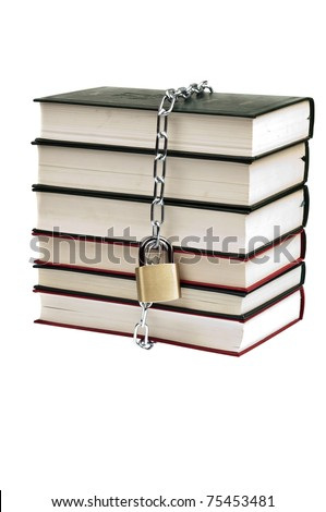 Padlock and book on white