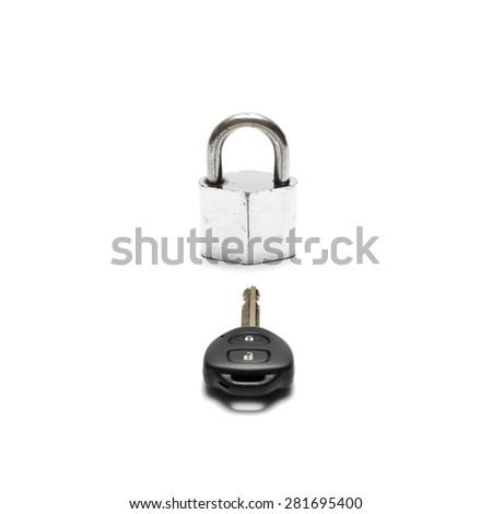 padlock and car key isolated on white background - stock photo