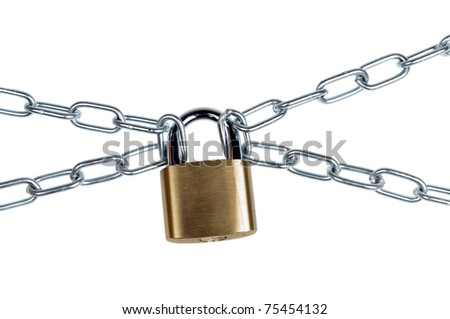 Padlock and chain on white - stock photo