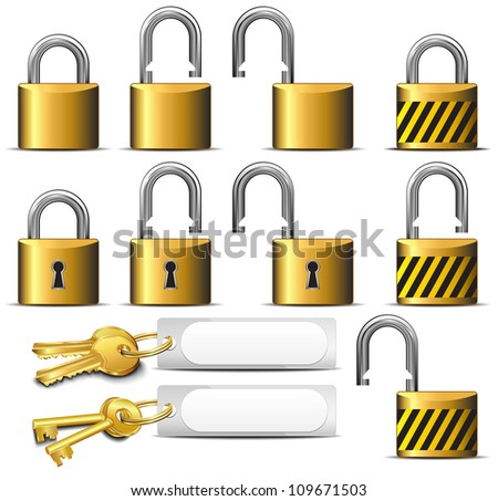 Padlock and Key - A set of Padlocks and Keys in Brass - Raster Version