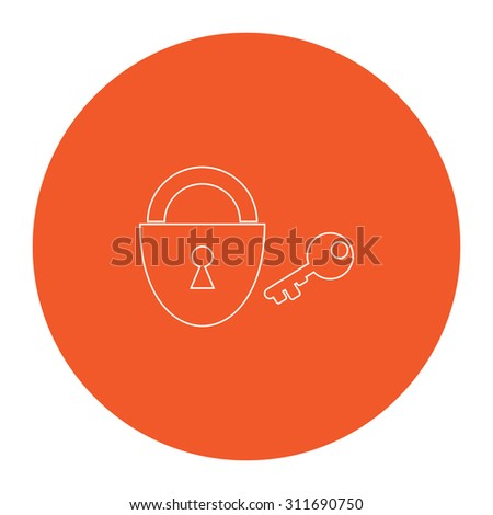 Padlock and key. Flat white symbol in the orange circle. Outline illustration icon - stock photo