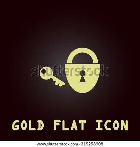 Padlock and key. Gold flat icon. Symbol for web and mobile applications for use as logo, pictogram, infographic element - stock photo