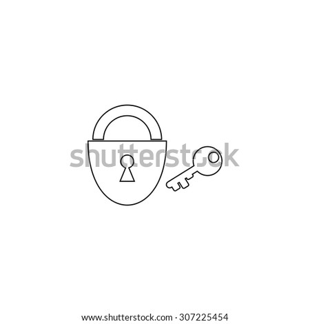 Padlock and key. Outline black simple symbol - stock photo