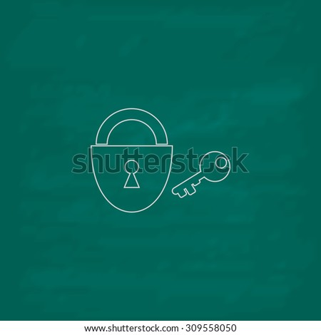 Padlock and key. Outline icon. Imitation draw with white chalk on green chalkboard. Flat Pictogram and School board background. Illustration symbol - stock photo
