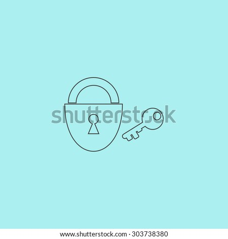 Padlock and key. Outline simple flat icon isolated on blue background - stock photo