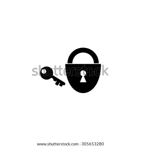 Padlock and key. Simple black flat pictogram on white background - stock photo