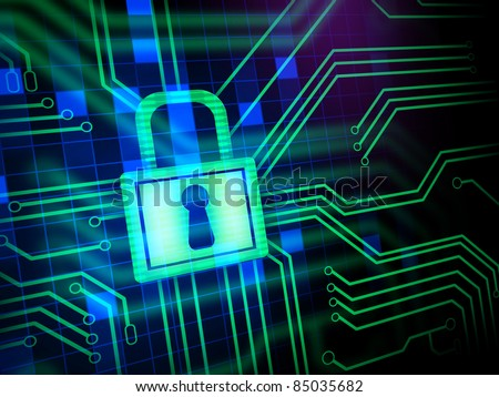 Padlock and keyhole in a printed circuit. Digital illustration. - stock photo