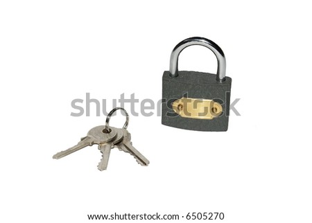padlock and keys on a white background