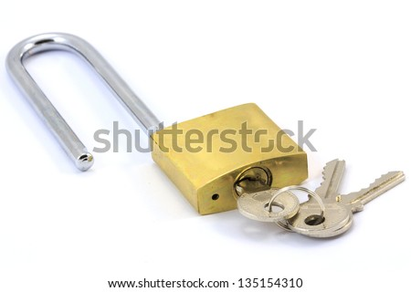 Padlock and keys opened on a white background - stock photo