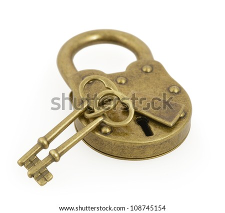 Padlock and two key isolated on white background with clipping path - stock photo