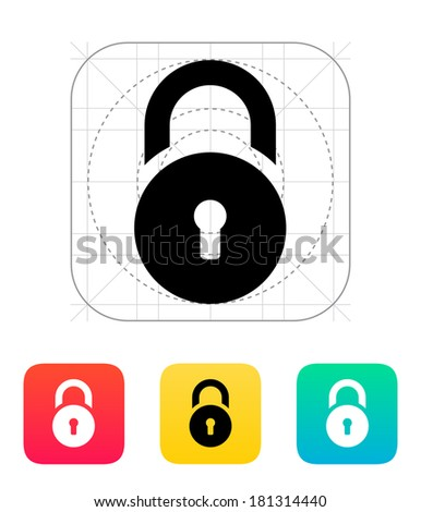 Padlock icon. - stock photo