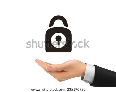 padlock icon holding by realistic hand over white background - stock photo