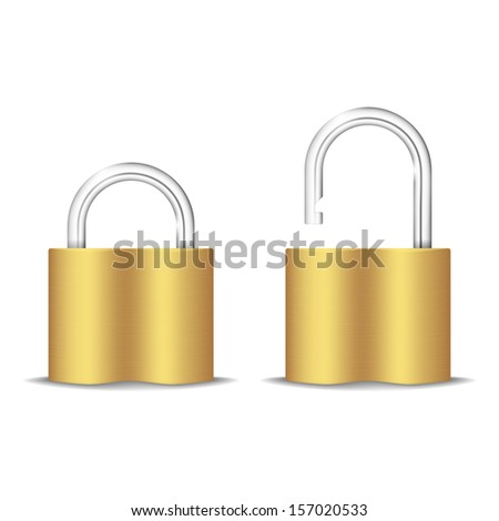 Padlock Icon. Open And Closed. Isolated On White. Raster version