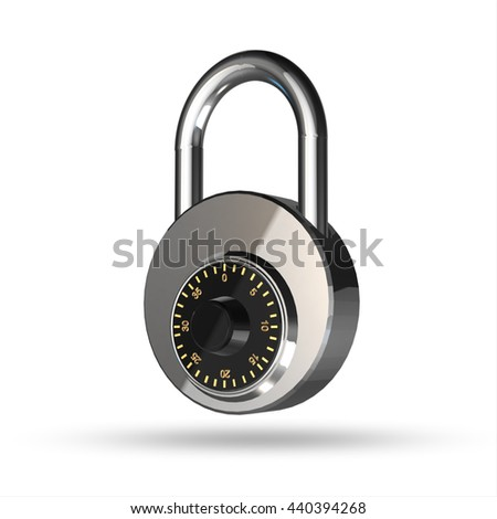 Padlock isolated on a white background. High resolution 3d render