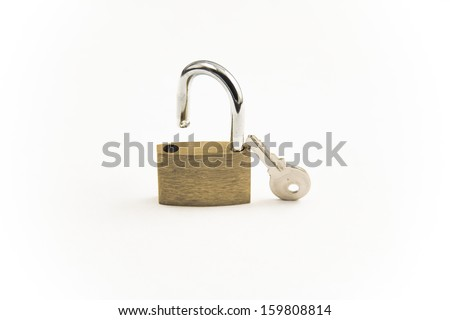Padlock isolated over white background - stock photo
