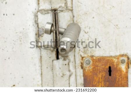 Padlock lock on metal gates background. - stock photo