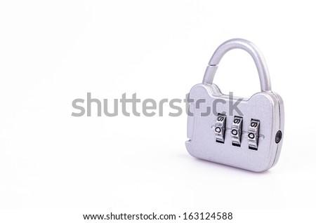 Padlock on isolated white background - stock photo