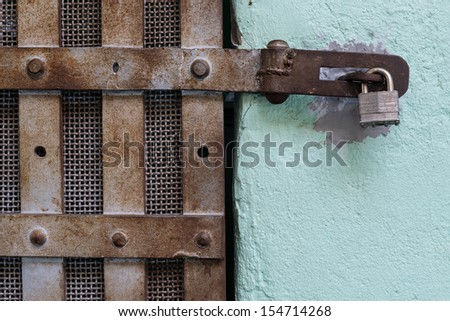 Padlock on prison cell of the Old Idaho State Penitentiary in Boise, Idaho - stock photo
