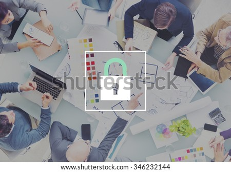 Padlock Protect Password Security Symbol Concept - stock photo