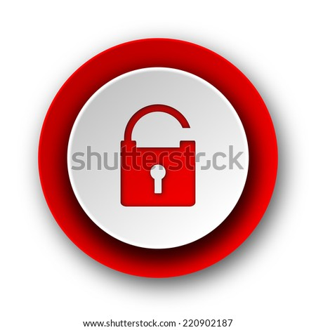 padlock red modern web icon on white background