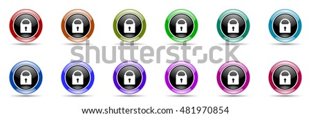 padlock round glossy colorful web icon set