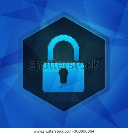 padlock sign over blue background with flat design hexagons, internet technology security concept symbol