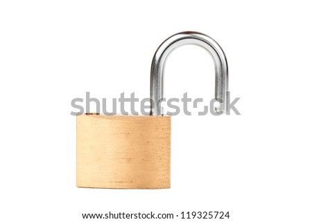 Padlock standing unlocked against white background