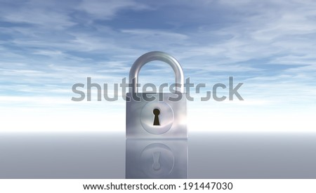 padlock under blue sky - 3d illustration - stock photo