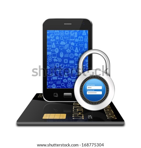 Padlock username password  creditcard with smartphone ,cell phone illustration
