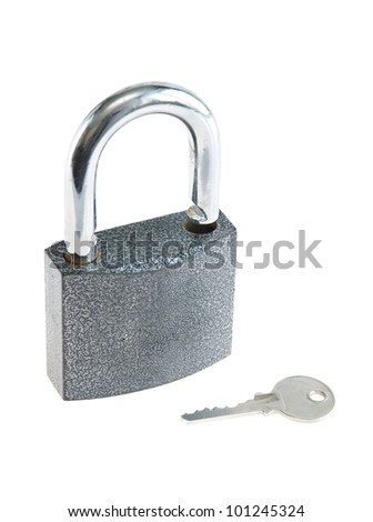 Padlock with a key isolated over white background - stock photo