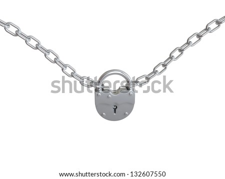 Padlock with chain. 3D isolated - stock photo