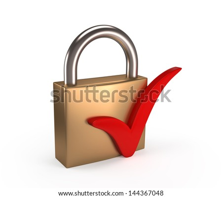 Padlock with check mark , isolated on white background