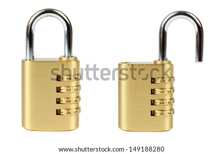 padlock with combination code, isolated on white background. - stock photo