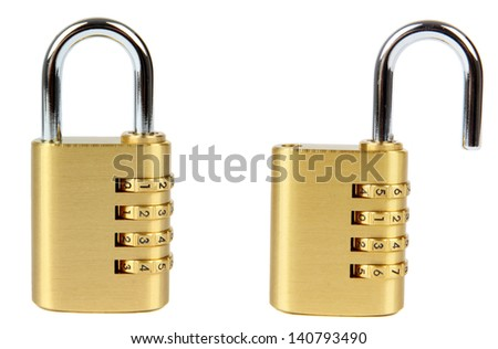 padlock with combination lock, in two position, locked and unlocked. Isolated on white background. - stock photo