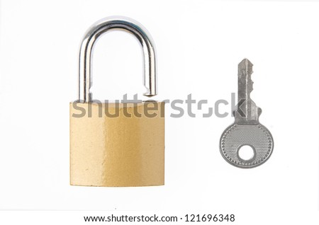 Padlock with key - stock photo