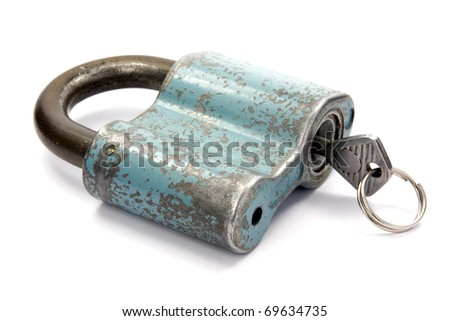 padlock with  key over a white background - stock photo
