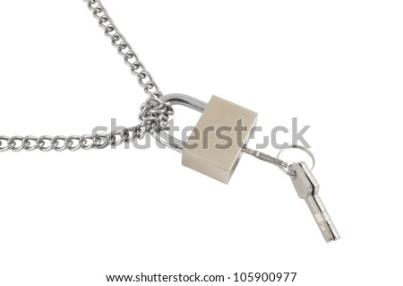 Padlock with keys and chain isolated on white