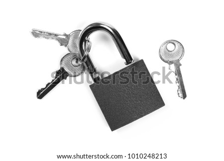 Padlock with keys, isolated on white background, top view