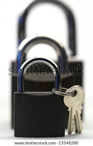 Padlocks and keys close up