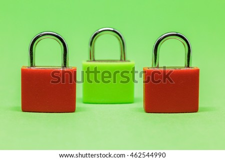 Padlocks in a green background for safety concept.