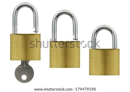 padlocks isolated on white - stock photo